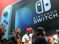 Left side of the Nintendo booth, outside